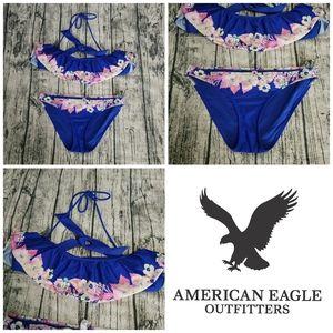 AEO Blue Floral Bathing Suit Swim Bandeau Bikini